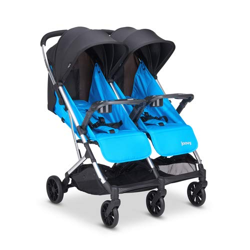 Joovy Kooper X2 Double Stroller, Lightweight Stroller, Compact Fold with Tray, Glacier