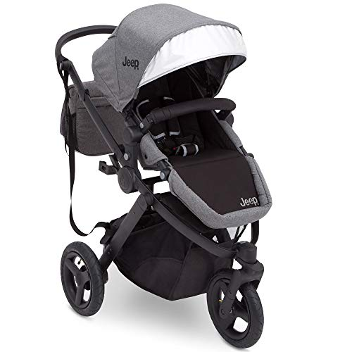 Jogging Stroller | All Terrain Baby Jogger | Sport Utility | JPMA Safety Certified | J is for Jeep Brand | Grey on Black Frame