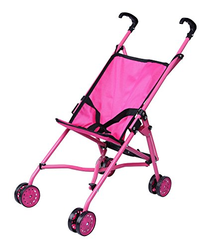 Precious Toys Hot Pink Umbrella Doll Stroller, Black Handles and Hot Pink Frame - 0128A