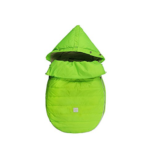 7AM Enfant Bee Pod Baby Bunting Bag for Strollers and Car-Seats with Removable Back Panel, Neon Green, Small/Medium