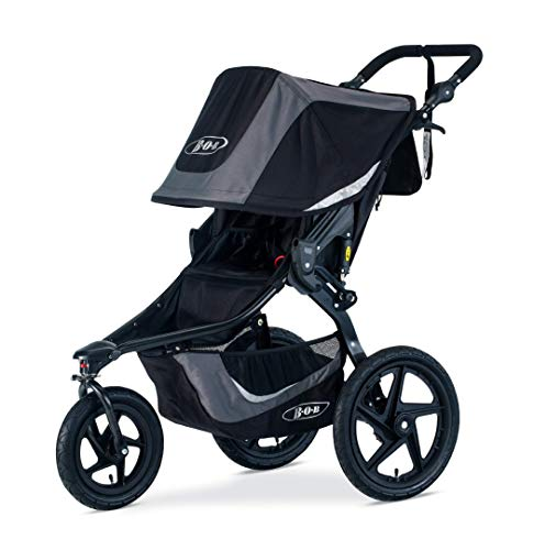 BOB Gear Revolution Flex 3.0 Jogging Stroller - Up to 75 pounds - UPF 50Plus Canopy - Adjustable Handlebar - Easy Fold, Graphite Black