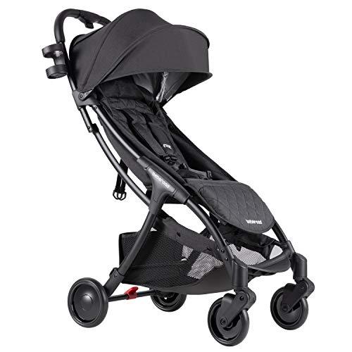 Beberoad Baby Stroller, 2020 R2 Ultra Lightweight Stroller, Newborn Stroller with UPF 50+ & Waterproof Canopy, Fits 0-36 Months(45Lbs), Black
