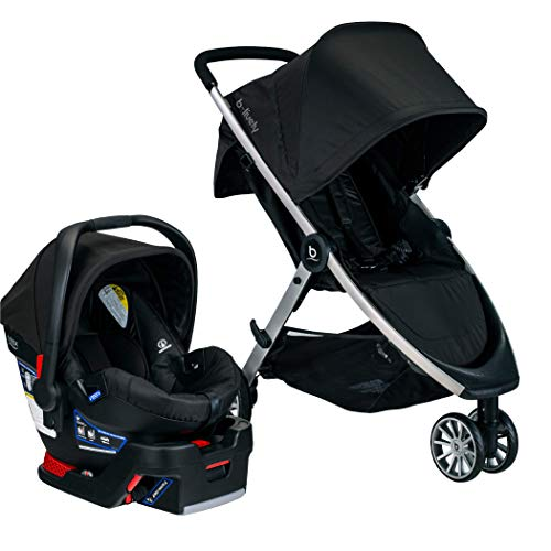 BRITAX B-Lively Travel System with B-Safe 35 Infant Car Seat   One Hand Fold XL Storage Ventilated Canopy, Raven (S05588500)