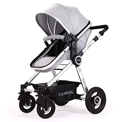 Baby Stroller Bassinet Pram Carriage Stroller - Cynebaby All Terrain Vista City Select Pushchair Stroller Compact Convertible Luxury Strollers add Foot Cover (Fresh Grey)