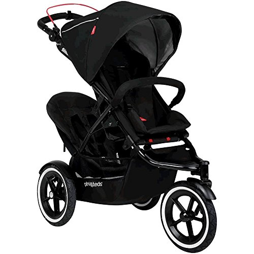 phil&teds Sport All Terrain Inline Stroller with Double Kit, Black – Auto Stop Safety Brake – All Terrain Air Tires – Adapts to Take One or Two Children – Travel System Ready with One or Two Carseats