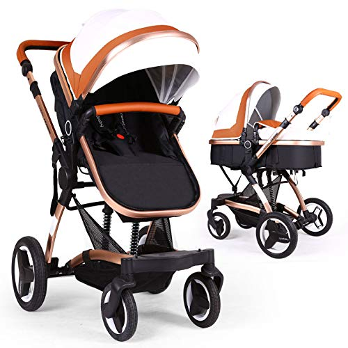 Bassinet Baby Stroller Reversible All Terrain - Cynebaby Vista City Select Strollers for Infant Toddler Pram Pushchair add Net Cover (Mellow Coffee)