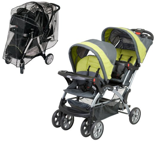 Baby Trend Sit N Stand Double Stroller with Weather Shield,- BEST 5 VALUE TANDEM DOUBLE STROLLERS ON A $300 BUDGET 2016 Infant and toddler