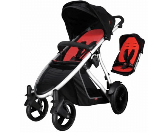 Phil & Teds Verve Stroller Review - front wheel suspension for safety of baby