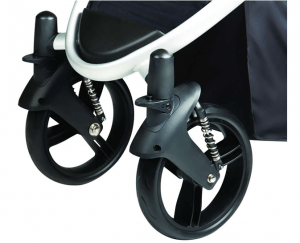 Phil & Teds Verve Stroller Review - safe wheels , with button break , front wheels suspension break