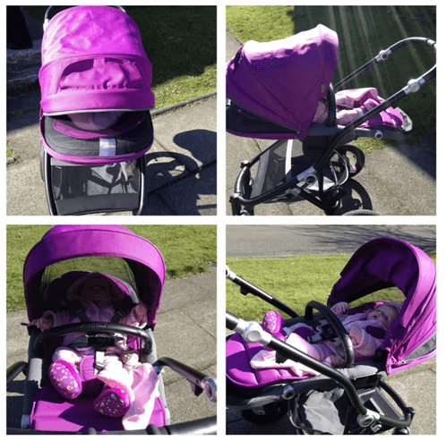 Britax Affinity Stroller Review - all terrain with bassinets with car seat in purpule color