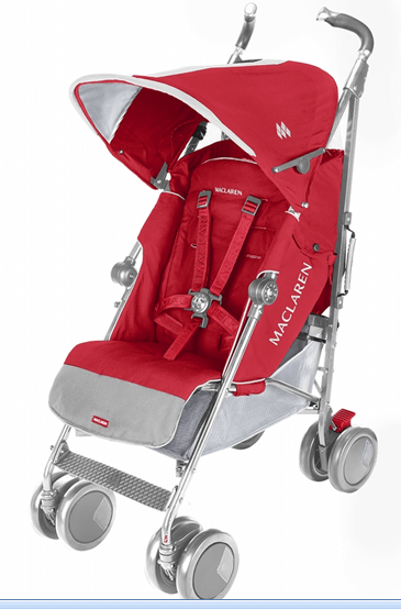 Maclaren Techno XT Stroller Review - Red stroller with baby material